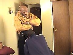 Bald black dude fucks his boyfriend's tight ass in several positions