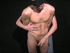 Masked gay boy sucks cock and gets boned