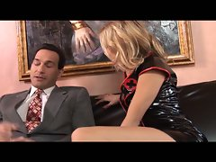 Lewd blonde milf in black nurse costume seducing horny hunk