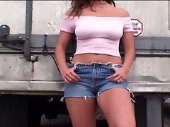 Sexy brunette fucks a hunk in a caravan