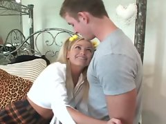 Kelly the co-ed blonde gets her boyfriend's dreams cum true