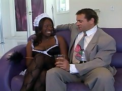 Busty black maid drilled deep by white dude