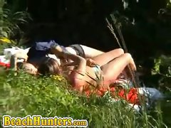 Horny couple caught fucking in the woods