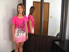 Young Thai ladyboy is showing herself.