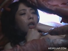 Asian slave sucking monstre'_s tentacles
