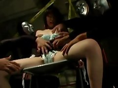 Asian skank fingered by masked posse