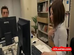 Office Lady Working Without Panty Fingering Herself Sucking Her Colleauge Cock In The Office