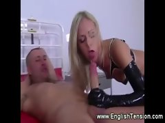 Leather domina riding her male subject