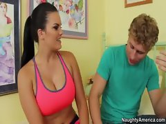Big Tit Mackenzee Pierce ends jog by fucking her friends boyfriends giant cock
