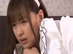 Shy asian maid gets her hairy beaver fingered