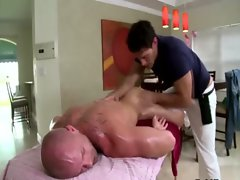 Straight guy slowly turned by massage stud