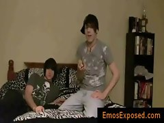 Two cute young emos having gay sex on bed gay video