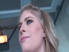 Blonde sweety swallowing phallus