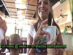 Lilah tender nasty brunette babe in a restaurant talking