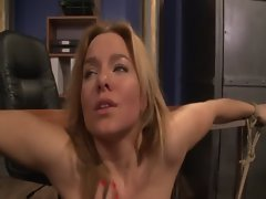 Blonde slave fingered by lezdom mistress