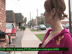 Jade tender superb redhead babe outside talking