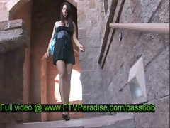 Claire amazing brunette babe walking down the stairs