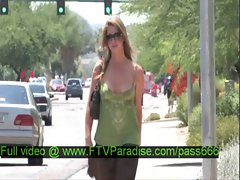 Lina gorgeous blonde babe walking down the street