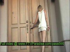 Liz amazing blonde babe walking outside her house