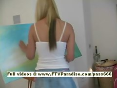Sandy gorgeous blonde teenage at home painting something