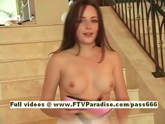 Tabetha gorgeous redhead babe undresses and dresses on the stairs