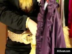 Gagged slave watches her master destroy her wardrobe