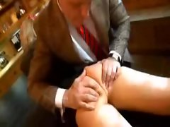 Sexy schoolgirl in tiny skirt toyed in the ass