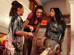 Wicked messy food play with three hotties