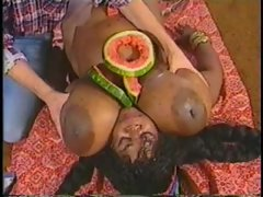 Retro interracial blowjob with a huge black girl