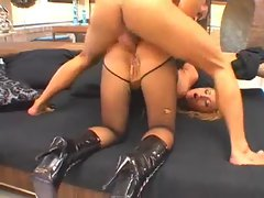 Girl in collar and leash fucked in the ass