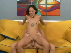 A squirting slender girl fucked by a big cock