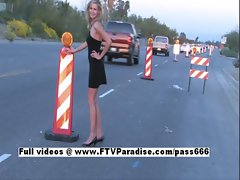 Lisa Tender Blonde Flashing On Road