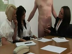 Office meeting slut jerk off their co workers hard cock