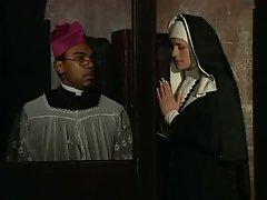 Slutty nun fucked in both of her holes