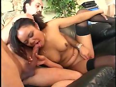 Sexy in black stockings likes the older man cock