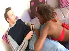 Horny black chick fucked in ass by white dude