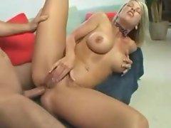 Blonde bimbo mom goes solo then fucks