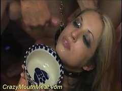 Girl in a collar drinking hot cum