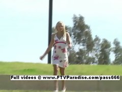 Ingenious Kylee blonde babe public flasing tits and posing