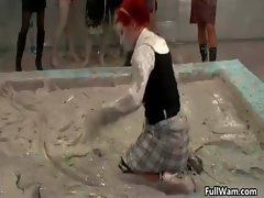 Mud loving Euro girls digging