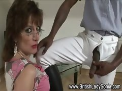Mature brit Lady Sonia gets a mouthful