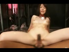 An asian slave gets spit roasted
