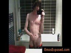 Cute gay emo filming himself in mirror while jerking gays