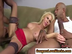 Stockings interracial cougar gets a cumshot