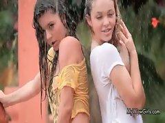 Happy wild and wet lesbian girls