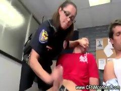 CFNM cops dish out sucking punishment
