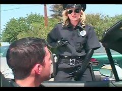 Female officer fucking in shiny latex lingerie