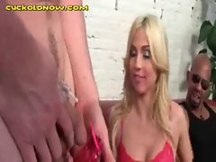 Interracial Blowjob Watched by Cuckold