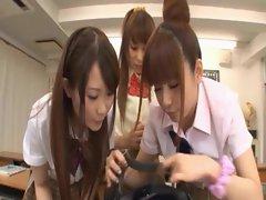 Asian schoolgirls taking horny dick