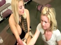 Two blonde babes are beating off